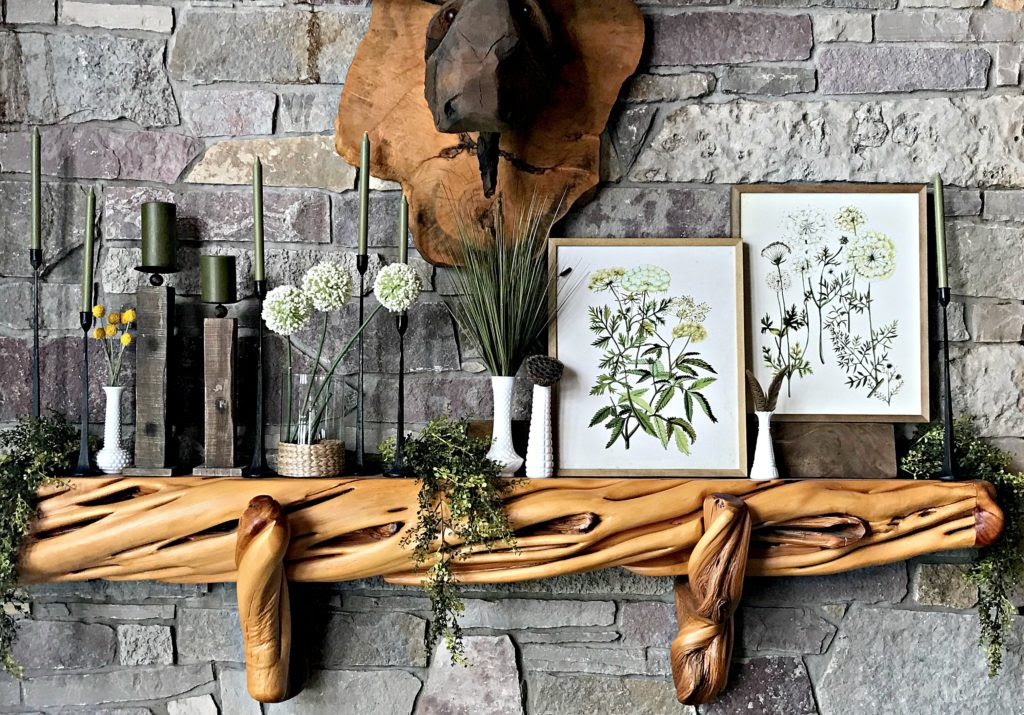 Spring Decor, Botanicals, Green Decor, Milk Glass, Candles on Mantle, Wood Mantel, Stone Fireplace, Cabin, Rustic Decor, Log Cabin