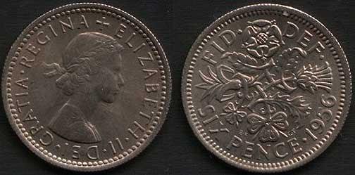 1956 Sixpence