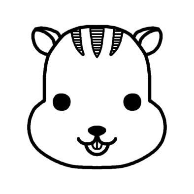 リス栗鼠動物の顔動物無料白黒イラスト素材