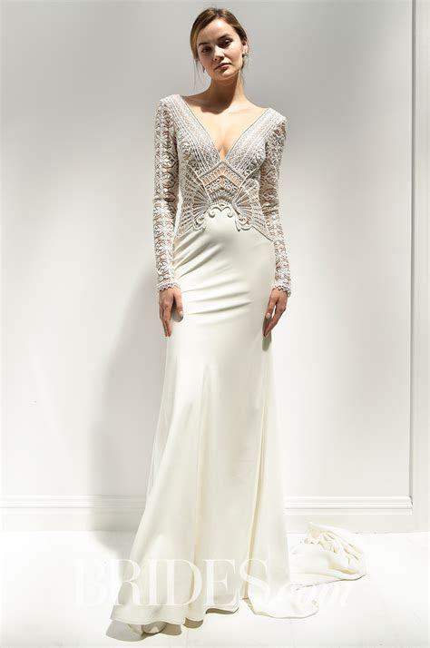 Alon Livne Long Sleeve Wedding Dress with Satin Skirt