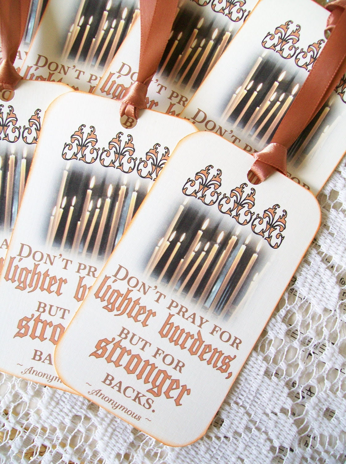 Encouragement Gift Tags Stronger Backs Set 6 Religious Gift Tags Mini Bookmarks