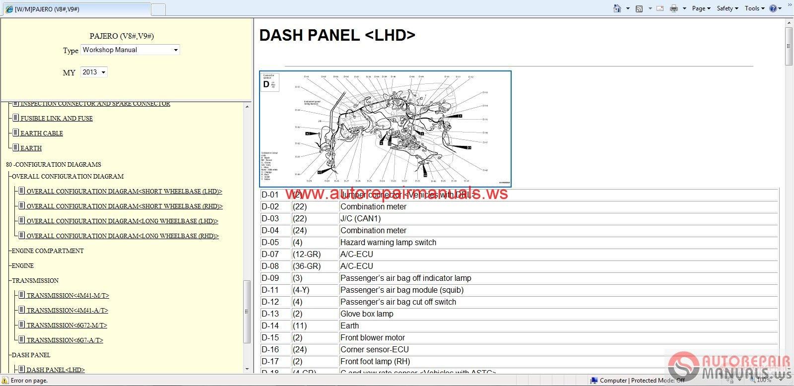 Free Auto Repair Manual   Mitsubishi Pajero 2013 Service Manual
