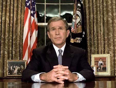 President George W Bush in the Oval Office on the night of September 11, 2001  Image Courtesy George W Bush Library