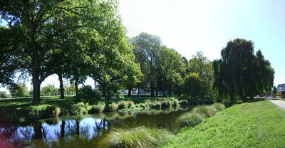 Photo from Park Terrace showing North Hagley Park and the Avon river in Christchurch, New Zealand, taken on 2009-04-02