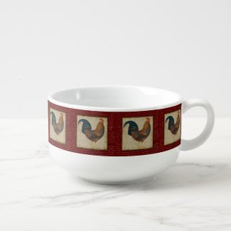 Red Rooster Soup Bowl With Handle
