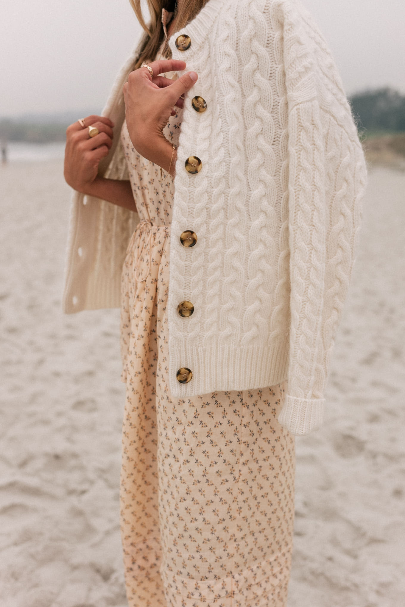 cream cardigan peach dress