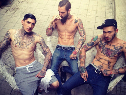 Fashion Inked Tattoo Men Ink Body Art Oldschool Tatted Tatuagem