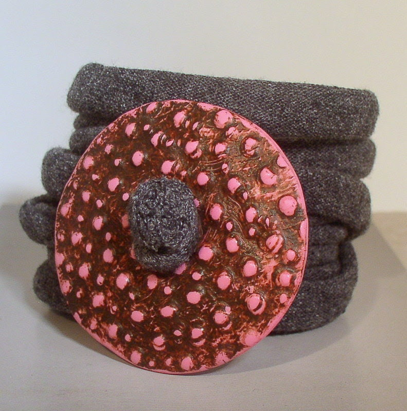Wrap Bracelet - Spotted Pink Design- Button Clasp - Fabric Wrap - Easy Wear