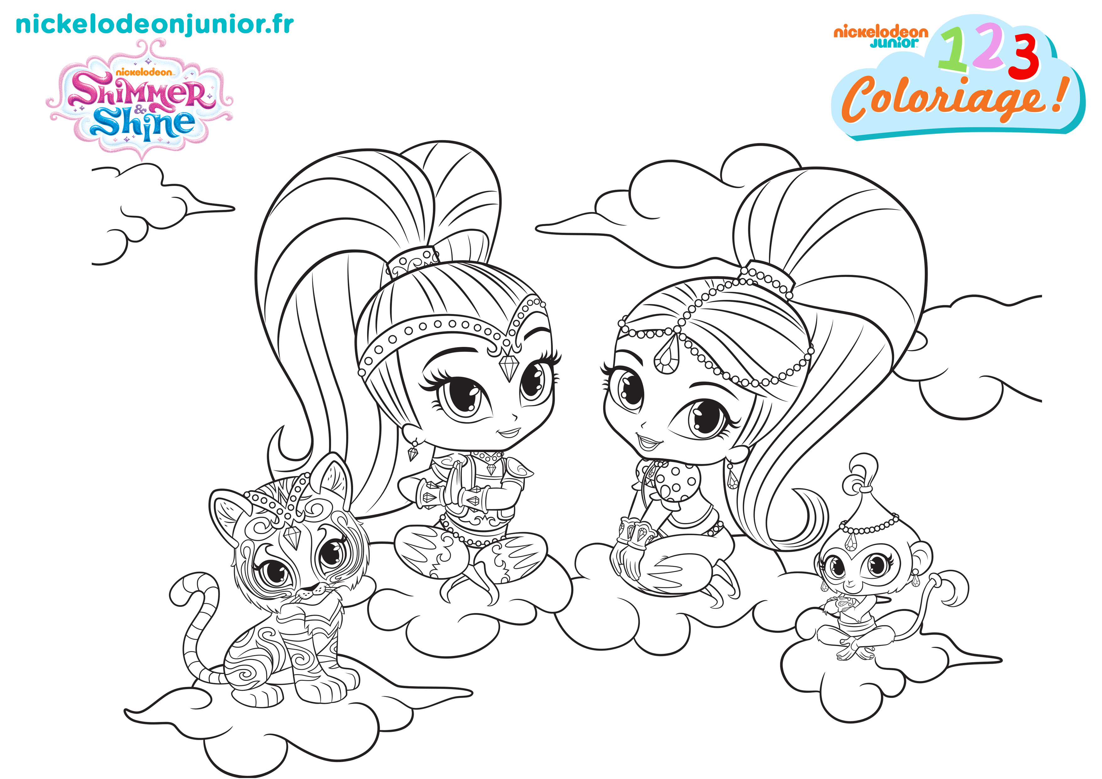 123 coloriage shimmer shine 114