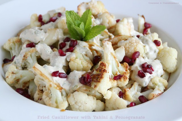Fried Cauliflower with Tahini & Pomegranate