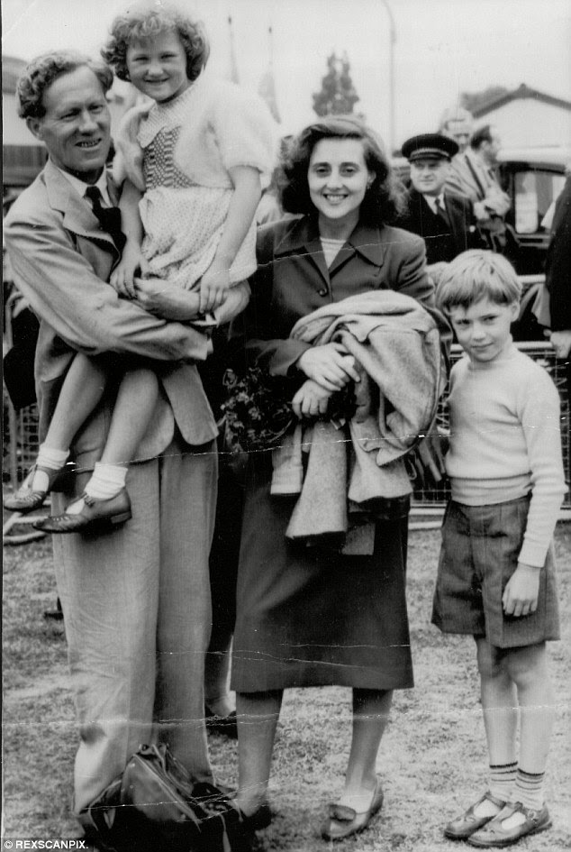 Dr Griffith Pugh with his wife and children Harriet and Simon after the Everest triumph in 1953