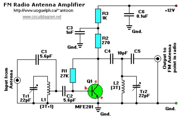 fm antenna amplifier booster circuit diagram