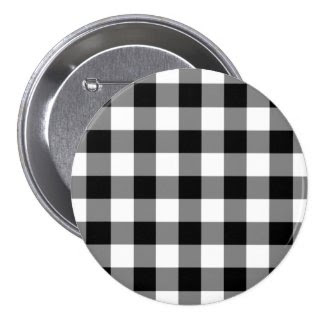 Black and White Gingham Pattern Pinback Button
