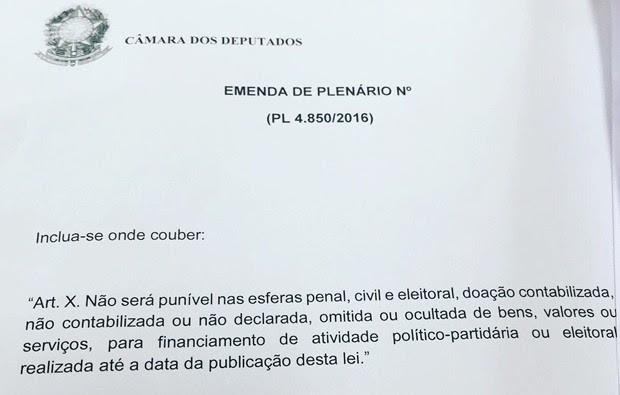Emenda com previsão de anistia ao caixa 2 que pode ser apresentada em plenário circulou na Câmara (Foto: Reprodução)