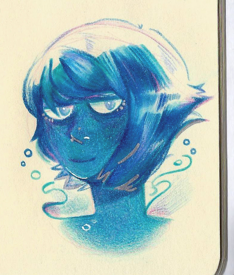 Lapis Lazule testing my colored pencils…