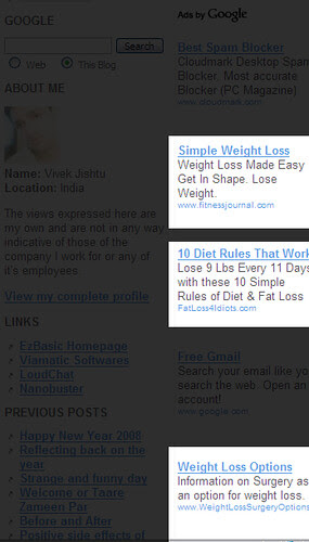 Adwords about weight loss