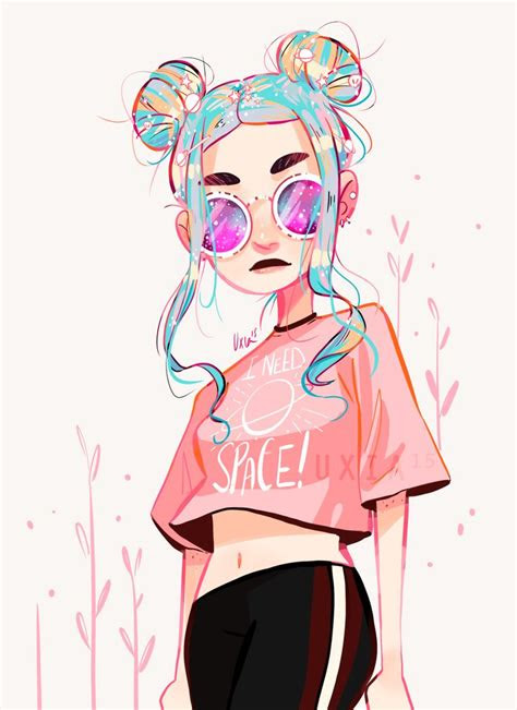 uxiadraws space buns   water color