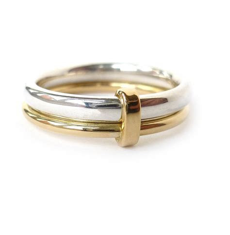 Silver and 18ct gold ring   contemporary, unique and