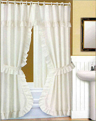 Double Swag Fabric Shower Curtain Liner Rings Dobby Dot Design