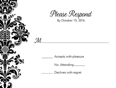 Black Damask Wedding Response Card