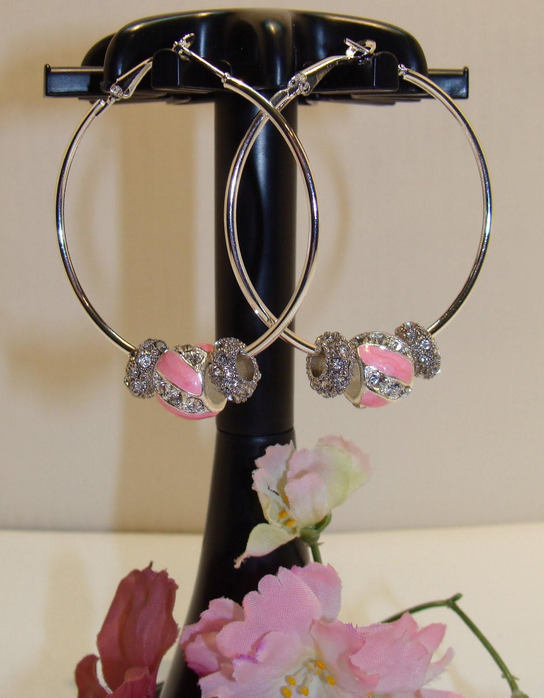 Pandora Style Beads Pink and Crystal Hoop Earrings