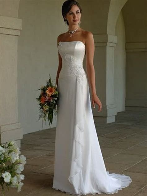 White Simple Cheap Custom Made Strapless Satin Sheath