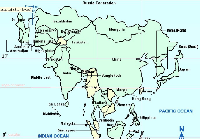 Outline Map Of Asia Labeled.Labeled Map Of Asia