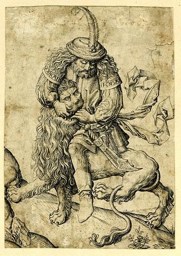 Samson rending the lion by Monogrammist FVB 1475