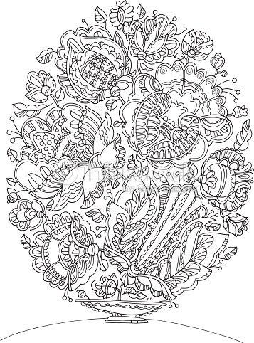 大人ぬりえイースターエッグ図形イメージ手描きの花のパターンのような