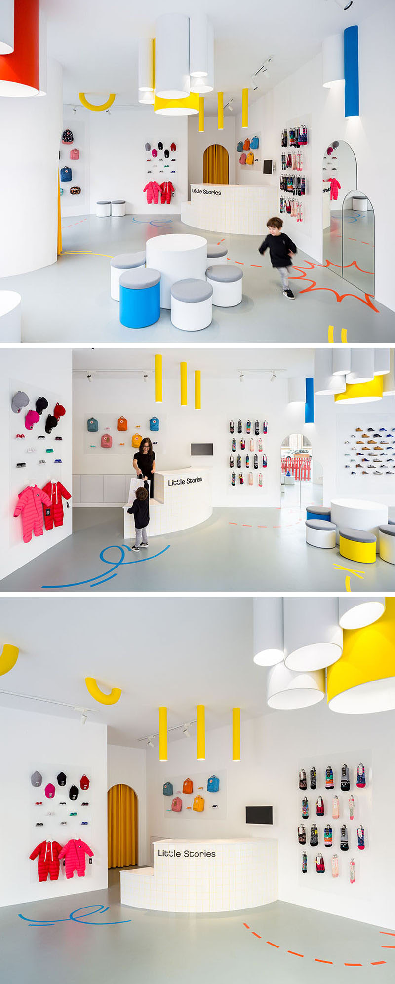 In this modern retail store, a curved sales counter complements the curved shapes of the lighting and display units, while the colorful clothing, shoes and accessories 'pop' against the white background, drawing the eye of potential customers. #ModernRetailStore #WhiteRetailStore