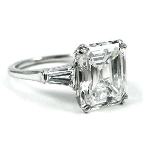 Harry Winston 4.01 Carat Emerald Cut Diamond Platinum Ring