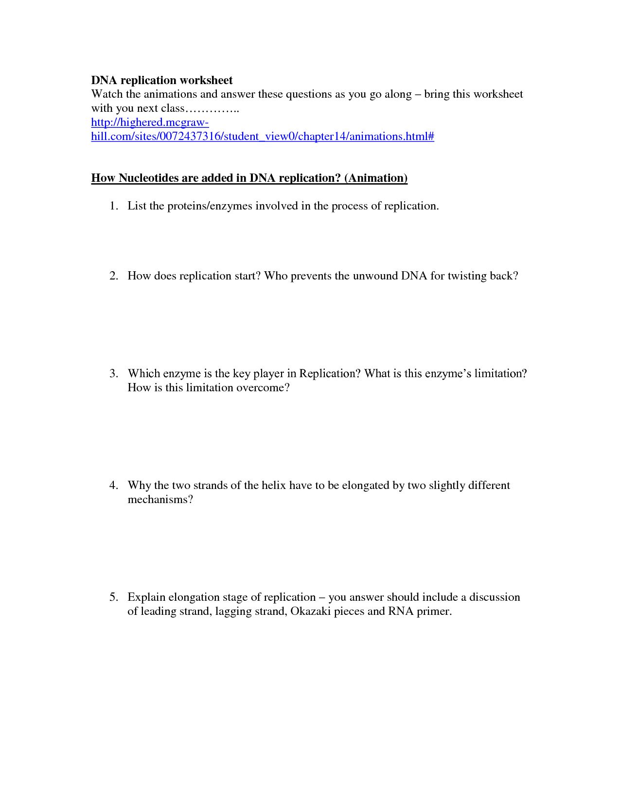 19 Best Images of DNA Replication Structure Worksheet And Answers  DNA Structure Worksheet