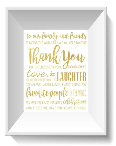 Wedding   Thank You for Friends and Family Quote Gold