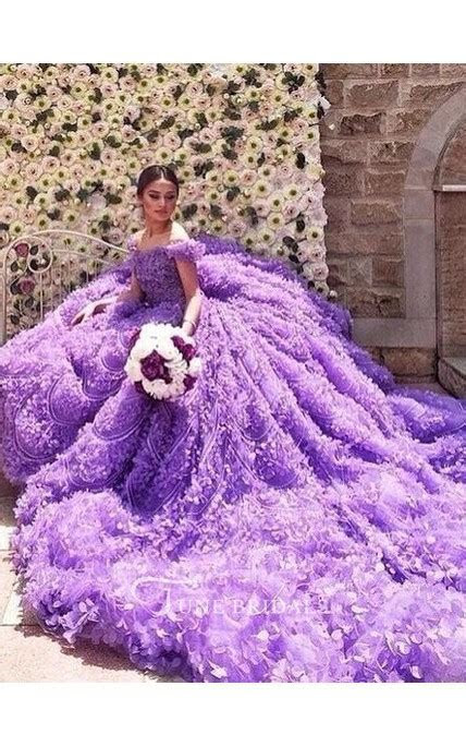Glamorous Purple Off the shoulder Wedding Dress 2018 Long