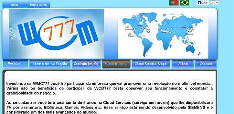 Divulgadores da WCM777 prometem ganho diário de US$ 32 / Foto: reprodução da internet