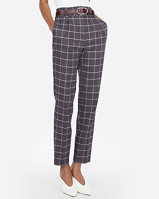 High waisted plaid pleated ankle pant online casual high