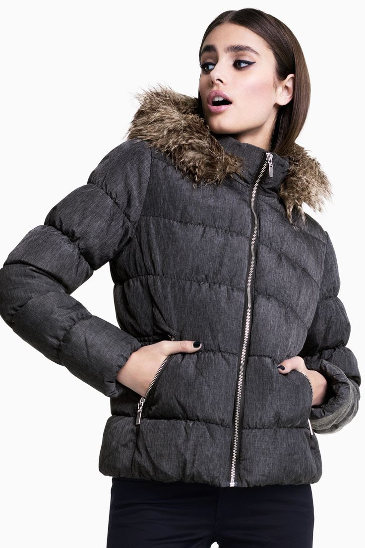 Gray padded jacket with faux-fur lined hood. @HMDIVIDED