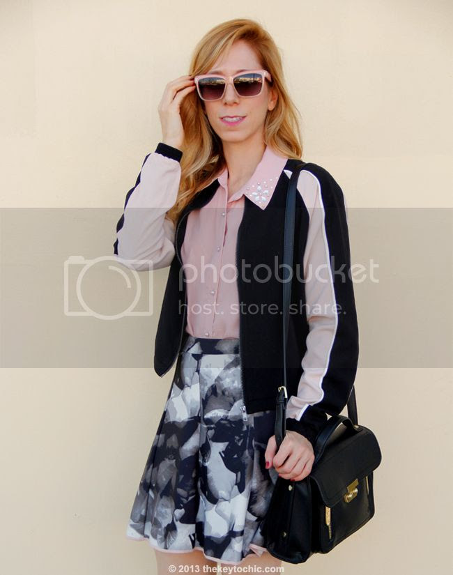 LA fashion blogger The Key To Chic wears a Mossimo colorblock bomber jacket and Mossimo printed scuba skirt, and a black Phillip Lim for Target satchel
