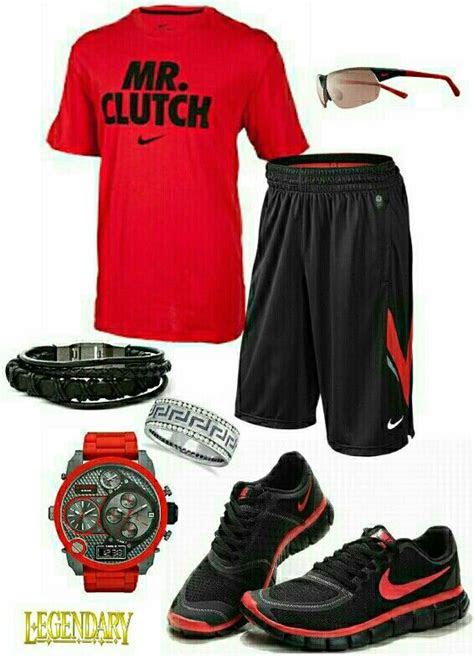 mens fashion red black nike outfit  im good