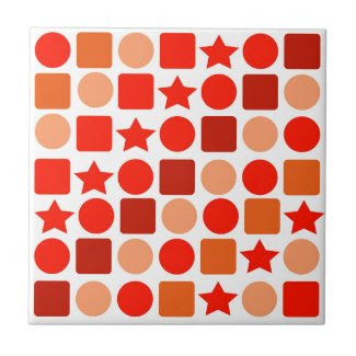 Beautiful Orange Geometrics on Ceramic Tile