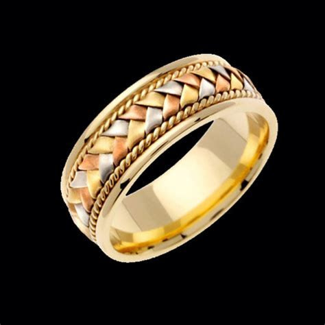 Yellow Gold Tri Color Braided Wedding Band