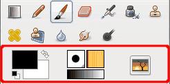 Area dei colori e degli indicatori nel pannello degli strumenti