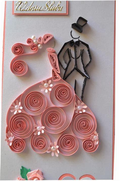 Quilled wedding card   by: nietylkokartk.blogspot.com