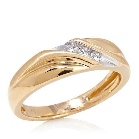 10K Yellow Gold Slant Band Wedding Ring with 3 Diamond