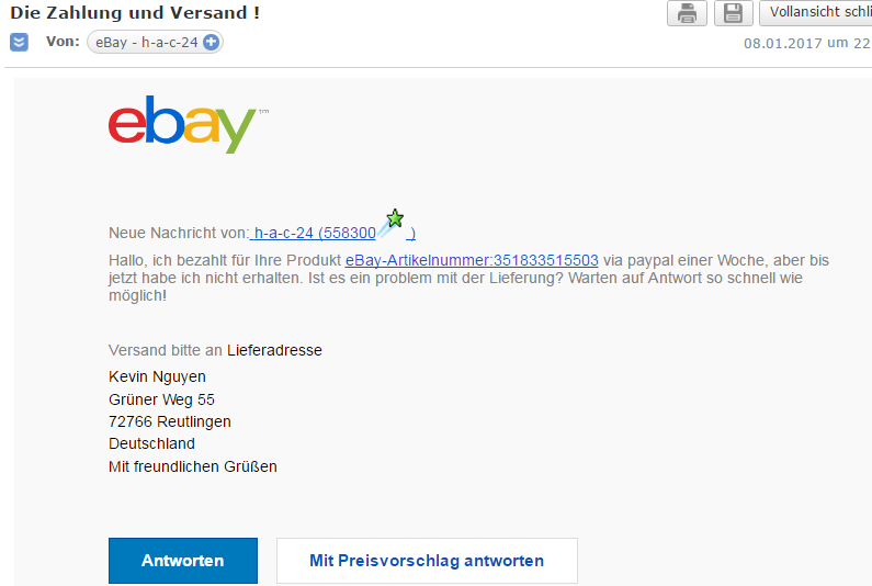 warnung phishing from ebay h a c 24 ebay subject. Black Bedroom Furniture Sets. Home Design Ideas