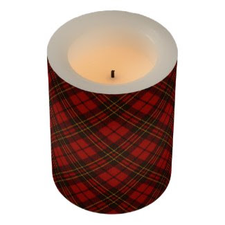 Adorable Red Christmas tartan Flameless Candle