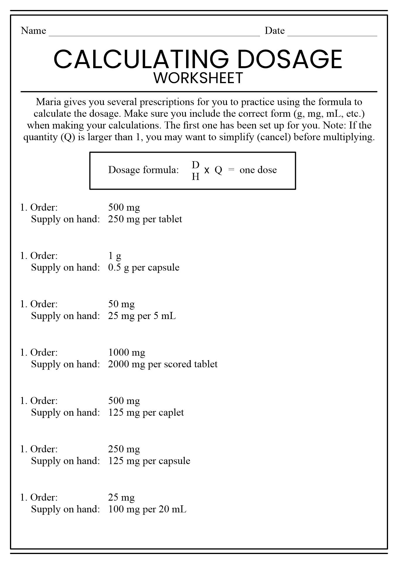 16 Best Images of Nursing Math Worksheets  Nursing Dosage Calculations Practice Problems, Free