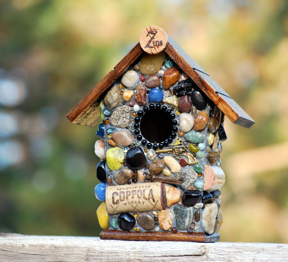 Mosaic Zin Birdhouse with Black Glass, Wine Corks and Stones