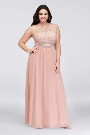 Infinity Cutout Lace and Chiffon Plus Size Gown   David's