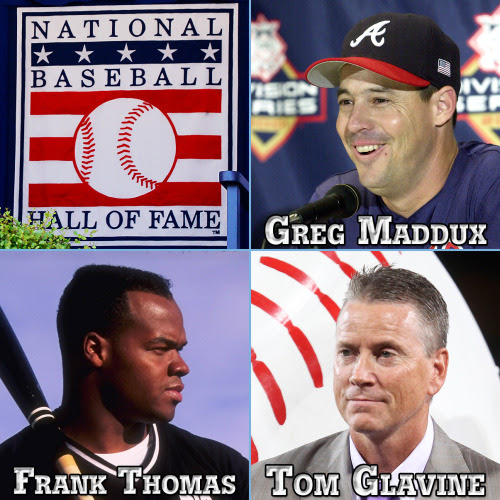 Welcome to Cooperstown! Greg Maddux, Frank Thomas and Tom Glavine.